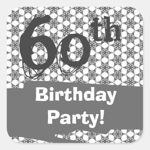 60.o Modelo de la plata de la fiesta de cumpleaños Pegatina Cuadrada