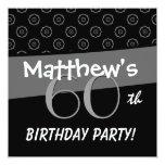 """60.o Modelo gris y negro del cumpleaños Invitación 5.25"""" X 5.25"""""""