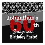 60.o Moderno rojo blanco del negro del cumpleaños Comunicado Personalizado