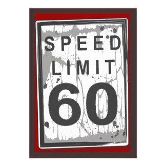 60 o Muestra sucia del límite de velocidad de la f Invitacion Personal