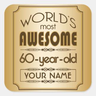 60.o mundo de la celebración del cumpleaños del pegatina cuadrada