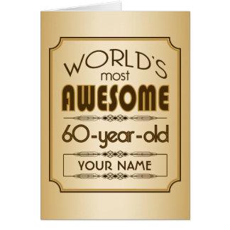60.o mundo de la celebración del cumpleaños del tarjeta de felicitación