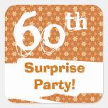 60.o Naranja del chocolate del oro de la fiesta de Pegatina Cuadradas