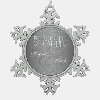 60.o Ornamento de Annivsersary |Custom del boda de Adorno De Peltre En Forma De Copo De Nieve