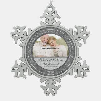 60.o Ornamento de la foto de Annivsersary el | del Adorno De Peltre En Forma De Copo De Nieve