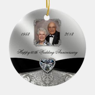 60.o Ornamento de la foto del aniversario de boda Adorno Redondo De Cerámica