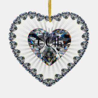 60.o Ornamento del aniversario de boda Adorno Navideño De Cerámica En Forma De Corazón