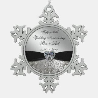 60.o Ornamento del copo de nieve del aniversario Adorno De Peltre En Forma De Copo De Nieve