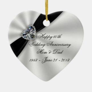 60.o Ornamento del corazón del aniversario de boda Adorno Navideño De Cerámica En Forma De Corazón