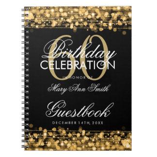 60.o oro de las chispas de la fiesta de cumpleaños cuadernos