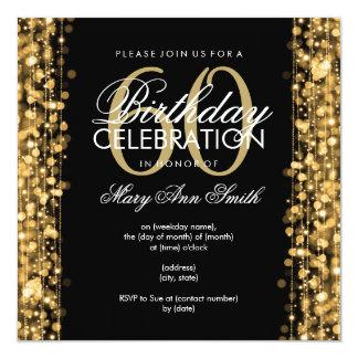 60.o oro elegante de las chispas de la fiesta de invitación 13,3 cm x 13,3cm