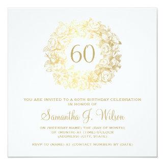 """60.o oro elegante de los rosas del vintage del invitación 5.25"""" x 5.25"""""""