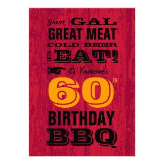 60.o Parrilla del Bbq del cumpleaños hacia fuera
