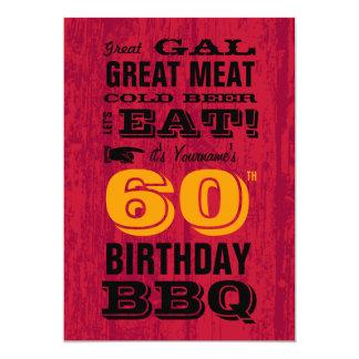 60.o Parrilla del Bbq del cumpleaños hacia fuera Invitacion Personal