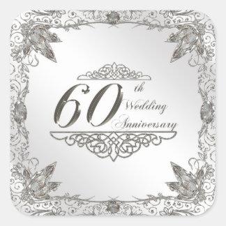 60.o Pegatinas del aniversario de boda Pegatina Cuadrada