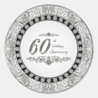 60.o Pegatinas del aniversario de boda Pegatina Redonda