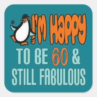 60.o pingüino todavía fabuloso del cumpleaños pegatina cuadrada