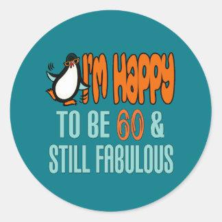 60.o pingüino todavía fabuloso del cumpleaños pegatina redonda