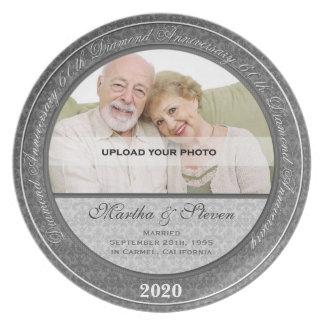 60.o Placa de la foto del aniversario de boda de Plato Para Fiesta