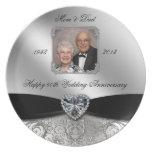 60.o Placa de la foto del aniversario de boda Platos Para Fiestas