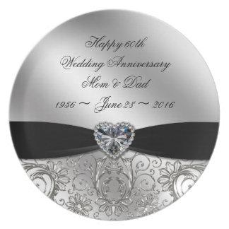 60.o Placa de la melamina del aniversario de boda Platos De Comidas