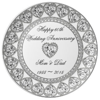 60.o Placa de la porcelana del aniversario de boda Plato De Cerámica
