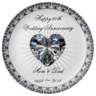 60.o Placa de la porcelana del aniversario de boda Platos De Cerámica