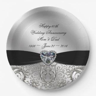 60.o Placa de papel del aniversario de boda de Plato De Papel De 9 Pulgadas