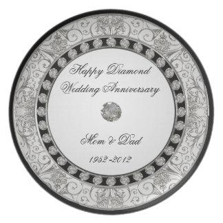 60.o Placa del aniversario de boda Plato Para Fiesta