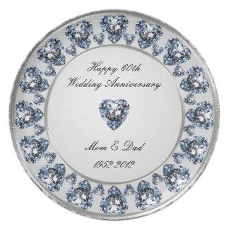 60 o Placa del aniversario de boda Plato Para Fiesta