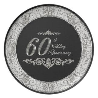 60.o Placa del aniversario de boda Plato De Cena