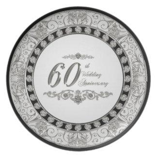 60.o Placa del aniversario de boda Platos