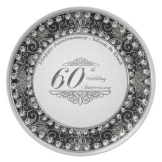 60.o Placa del aniversario de boda Platos Para Fiestas