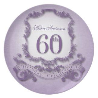 60.o Placa personalizada celebración del Plato De Comida