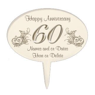 60.o primero feliz de la torta del aniversario con decoración para tarta