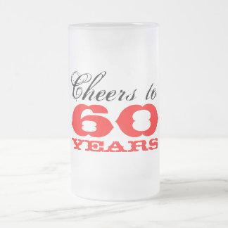 60.o Regalo del vidrio de cerveza del cumpleaños p Taza