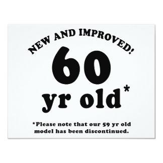 60.o Regalos de la mordaza del cumpleaños Invitación 10,8 X 13,9 Cm