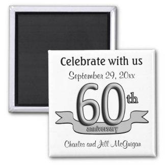 60.o Reserva del aniversario los favores de fiesta Imán Cuadrado