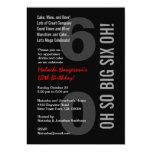60.o ¡Rojo blanco SEIS OH del negro moderno del Invitación 12,7 X 17,8 Cm