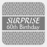 60.o Rojo de la plata del negro del cumpleaños de  Calcomanía Cuadrada Personalizada