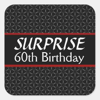 60.o Rojo de la plata del negro del cumpleaños de Pegatina Cuadrada