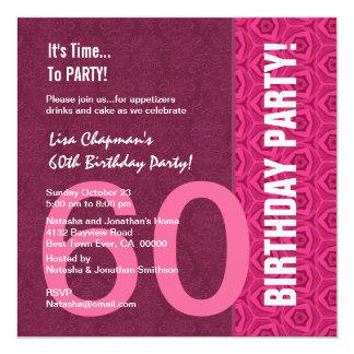 """60.o Rosa moderno y vino C949A del cumpleaños Invitación 5.25"""" X 5.25"""""""