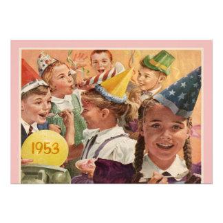 60 o rosa retro de las memorias de la fiesta de cu invitaciones personalizada