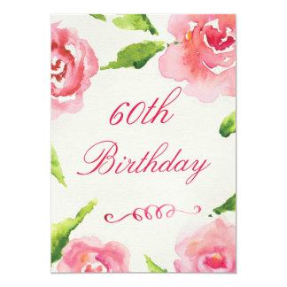 60.o Rosas elegantes de la acuarela del cumpleaños Invitación 12,7 X 17,8 Cm
