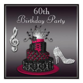 """60.o Rosas fuertes de la torta y de los talones de Invitación 5.25"""" X 5.25"""""""