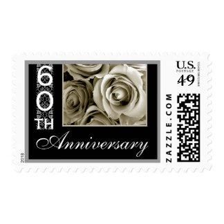 60 o Sello del aniversario - rosas BLANCOS ANTIGUO