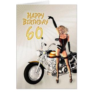 60.o Tarjeta de cumpleaños con un chica de la moto