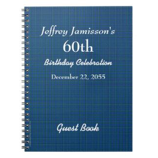 60.o Tela escocesa del azul del libro de visitas Libretas