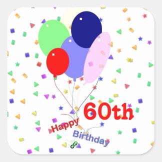 60.os globos felices coloridos del cumpleaños calcomanía cuadrada