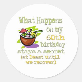 60.os regalos de cumpleaños de la diversión pegatina redonda